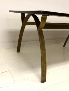 Andre Renou Jean Pierre Genisset Renou et G nisset Custom Gilt Wrought Iron and Redwood Dining Table - 1531923