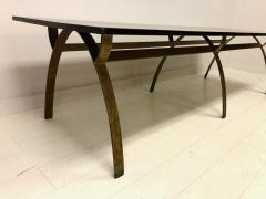 Andre Renou Jean Pierre Genisset Renou et G nisset Custom Gilt Wrought Iron and Redwood Dining Table - 1531925