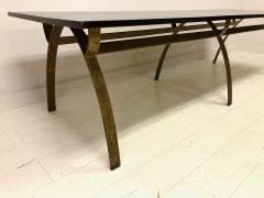 Andre Renou Jean Pierre Genisset Renou et G nisset Custom Gilt Wrought Iron and Redwood Dining Table - 1531926