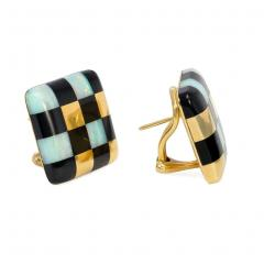 Angela Cummings Angela Cummings for Tiffany Gold and Inlaid Jade and Opal Checkered Earrings - 1378519