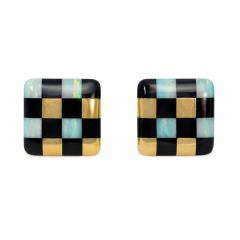 Angela Cummings Angela Cummings for Tiffany Gold and Inlaid Jade and Opal Checkered Earrings - 1379883
