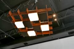 Angelo Brotto Angelo Brotto Walnut Brass and Perspex Chandelier for Esperia Italy - 838234