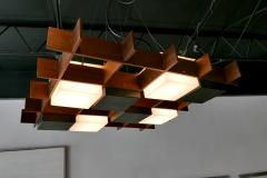 Angelo Brotto Angelo Brotto Walnut Brass and Perspex Chandelier for Esperia Italy - 838235
