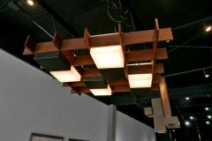 Angelo Brotto Angelo Brotto Walnut Brass and Perspex Chandelier for Esperia Italy - 838236