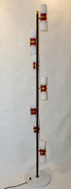 Angelo Brotto Angelo Brotto for Esperia 1960s Italian Black White Red Modern Floor Lamp - 1123307
