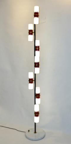 Angelo Brotto Angelo Brotto for Esperia 1960s Italian Black White Red Modern Floor Lamp - 1123308