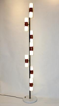 Angelo Brotto Angelo Brotto for Esperia 1960s Italian Black White Red Modern Floor Lamp - 1123309
