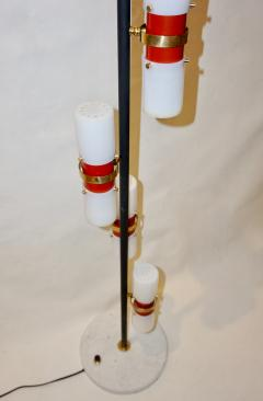 Angelo Brotto Angelo Brotto for Esperia 1960s Italian Black White Red Modern Floor Lamp - 1123310