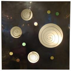 Angelo Brotto Lit Wall Piece by Angelo Brotto in Aluminum and Blown Glass Circa 1970 - 210020