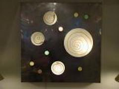 Angelo Brotto Lit Wall Piece by Angelo Brotto in Aluminum and Blown Glass Circa 1970 - 210022