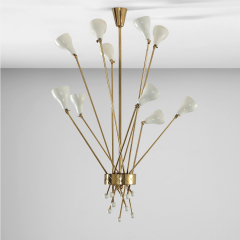 Angelo Lelii Lelli Rare ceiling lamp in brass and painted metal - 811904