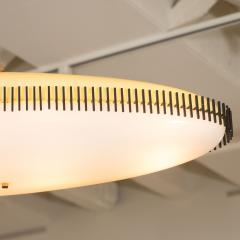 Angelo Lelii Lelli Rare yellow white oval suspension light fixture by Angelo Lelii for Arredoluce - 1405530