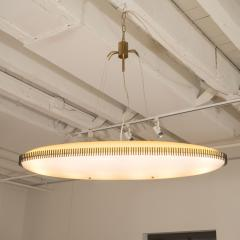 Angelo Lelii Lelli Rare yellow white oval suspension light fixture by Angelo Lelii for Arredoluce - 1405533