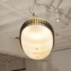 Angelo Lelii Lelli Rare yellow white oval suspension light fixture by Angelo Lelii for Arredoluce - 1405536