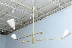 Angelo Lelli Italian Modern Brass and Enameled Three Arm Chandelier - 527148