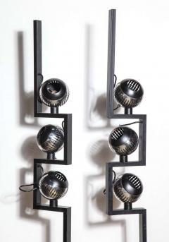 Angelo Lelli Lelii Pair of Angelo Lelli for Arredoluce Floor Lamps with Adjustable Chrome Shades - 1685741