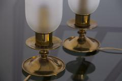 Angelo Lelli Lelii Pair of Table Lamps in Opaline Glass and Brass by Angelo Lelii 1950s - 2009294