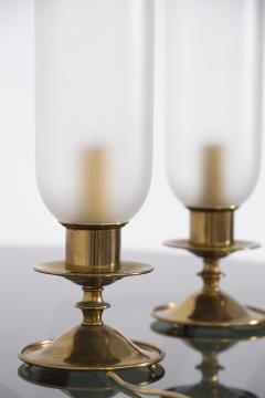 Angelo Lelli Lelii Pair of Table Lamps in Opaline Glass and Brass by Angelo Lelii 1950s - 2009297