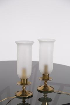 Angelo Lelli Lelii Pair of Table Lamps in Opaline Glass and Brass by Angelo Lelii 1950s - 2009298