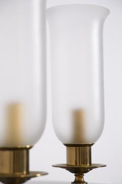 Angelo Lelli Lelii Pair of Table Lamps in Opaline Glass and Brass by Angelo Lelii 1950s - 2009299