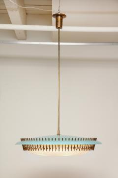 Angelo Lelli Lelii RARE ROUND SUSPENSION LIGHT FIXTURE IN BLUE BY ANGELO LELII FOR ARREDOLUCE - 1700044