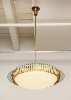 Angelo Lelli Lelii RARE ROUND SUSPENSION LIGHT FIXTURE IN BLUE BY ANGELO LELII FOR ARREDOLUCE - 1700046