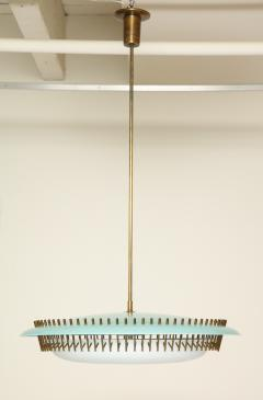 Angelo Lelli Lelii RARE ROUND SUSPENSION LIGHT FIXTURE IN BLUE BY ANGELO LELII FOR ARREDOLUCE - 1700047