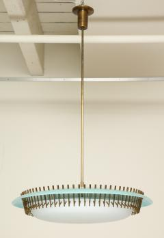 Angelo Lelli Lelii RARE ROUND SUSPENSION LIGHT FIXTURE IN BLUE BY ANGELO LELII FOR ARREDOLUCE - 1700048