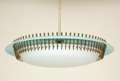 Angelo Lelli Lelii RARE ROUND SUSPENSION LIGHT FIXTURE IN BLUE BY ANGELO LELII FOR ARREDOLUCE - 1700049