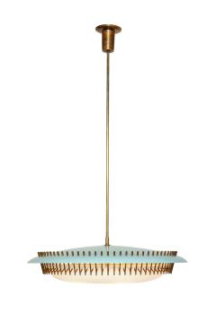 Angelo Lelli Lelii RARE ROUND SUSPENSION LIGHT FIXTURE IN BLUE BY ANGELO LELII FOR ARREDOLUCE - 1863322