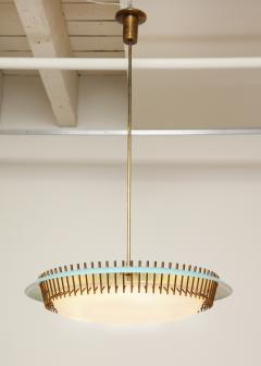Angelo Lelli Lelii RARE ROUND SUSPENSION LIGHT FIXTURE IN BLUE BY ANGELO LELII FOR ARREDOLUCE - 1863323