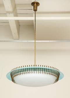 Angelo Lelli Lelii RARE ROUND SUSPENSION LIGHT FIXTURE IN BLUE BY ANGELO LELII FOR ARREDOLUCE - 1863326