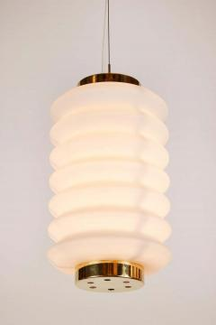 Angelo Lelli Lelii Rare 1950s Angelo Lelli Glass and Brass Suspension Lamp for Arredoluce - 1770614