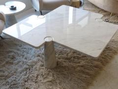 Angelo Mangiarotti Angelo Mangiarotti Eros Collection Freccia White Carrara Marble Coffee Table - 1117137