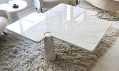 Angelo Mangiarotti Angelo Mangiarotti Eros Collection Freccia White Carrara Marble Coffee Table - 1117138