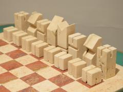 Angelo Mangiarotti Chess in travertino by Angelo Mangiarotti circa 1950 - 955700