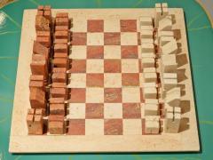 Angelo Mangiarotti Chess in travertino by Angelo Mangiarotti circa 1950 - 955701