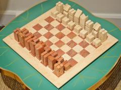 Angelo Mangiarotti Chess in travertino by Angelo Mangiarotti circa 1950 - 955702