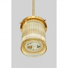 Angelo Mangiarotti Pair of Gold Toned Ribbed Glass lanterns - 979815
