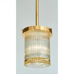Angelo Mangiarotti Pair of Gold Toned Ribbed Glass lanterns - 979821