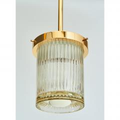 Angelo Mangiarotti Pair of Gold Toned Ribbed Glass lanterns - 979822
