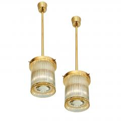 Angelo Mangiarotti Pair of Gold Toned Ribbed Glass lanterns - 979823