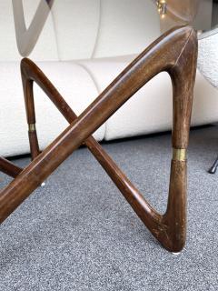 Angelo Ostuni Italian Mid Century Wood and Brass Coffee Table Italy 1950s - 2129651