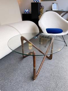 Angelo Ostuni Italian Mid Century Wood and Brass Coffee Table Italy 1950s - 2129654