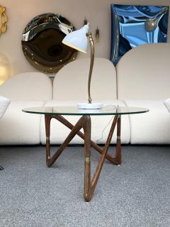 Angelo Ostuni Italian Mid Century Wood and Brass Coffee Table Italy 1950s - 2129656