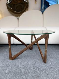 Angelo Ostuni Italian Mid Century Wood and Brass Coffee Table Italy 1950s - 2129658