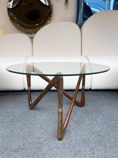 Angelo Ostuni Italian Mid Century Wood and Brass Coffee Table Italy 1950s - 2129659