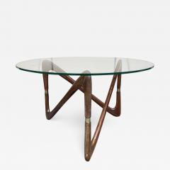 Angelo Ostuni Italian Mid Century Wood and Brass Coffee Table Italy 1950s - 2132037