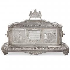 Anglo Indian Art Deco silver presentation casket - 1954702