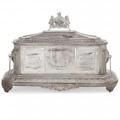 Anglo Indian Art Deco silver presentation casket - 1954706